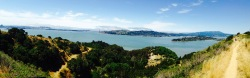 Panorama of Golden Gate Bridge, taken from Angel Island, the West Coast's original naturalization site.
